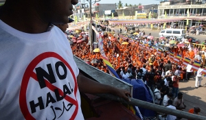 Bodu Bala Sena (BBS) and its supporters at a rally in Maharagama, Sri Lanka. Photo courtesy of AFP.